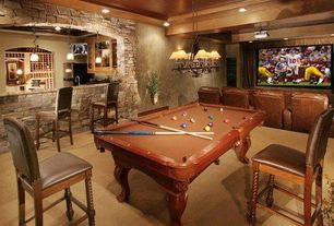 Traditional Bar with Pool table, flush light, Carpet, Built-in bookshelf, Pendant light, Stone accent wall, Crown molding