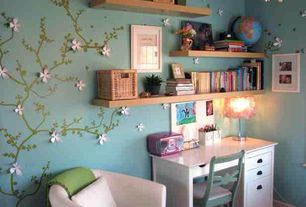 Traditional Kids Bedroom with Chandelier, interior wallpaper, Blake desk, Floating shelves, Standard height, Paint