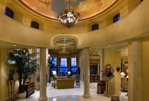 Traditional Entryway with Chandelier, Columns, High ceiling, complex marble tile floors, Paint, Crown molding