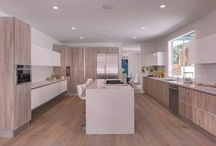 Modern Kitchen with sohoConcept pera piston adjustable height bar stool, U-shaped, Breakfast bar, Simple granite counters