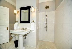 Full Bathroom with MS International Whisper White Glazed Handcrafted 3x6 Ceramic Tile, specialty door, penny tile floors