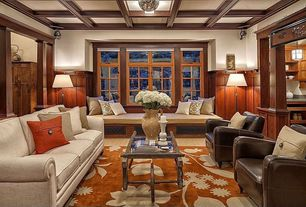 Traditional Living Room with Casement, Box ceiling, flush light, Crown molding, Window seat, Wainscotting, Carpet, Columns