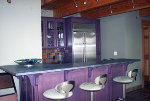 Contemporary Bar with Kitchen island, One-wall, flush light, Breakfast bar, slate tile floors, High ceiling, Glass panel