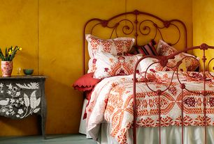 Eclectic Master Bedroom with Anthropologie lydia bed, Anthropologie abaza duvet, Moroccan wood print pattern, Bombe chest