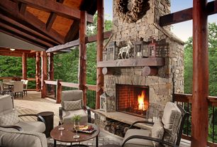 Rustic Deck with Wood mantel, Covered porch, Exposed wood beam ceiling, Deck Railing, Outdoor fireplace, Wrap around porch