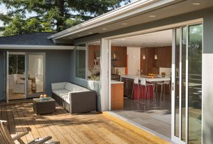 "Contemporary Deck with Felix 24"" white counter stool, sliding glass door, specialty window, French doors"
