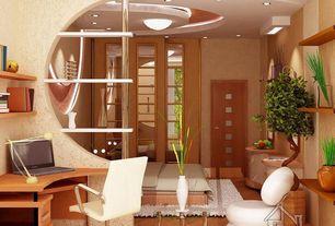 Contemporary Guest Bedroom with flush light, Built-in bookshelf, Bamboo flooring, Wallpaper, Laminate floors
