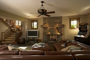 Rustic Basement with Paint 1, Ms international multi color 12 in. x 12 in. gauged slate floor and wall tile, Ceiling fan