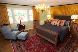 Eclectic Guest Bedroom with Crown molding, Hardwood floors, Standard height, picture window, Chandelier, can lights
