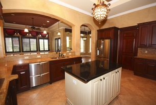 Craftsman Kitchen with Raised panel, specialty door, Pendant light, Marble.com Copper Canyon Granite, U-shaped, Flush