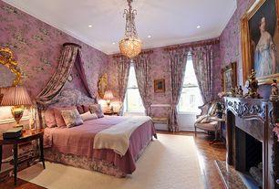 Traditional Master Bedroom with Pendant light, Crown molding, interior wallpaper, Hardwood floors