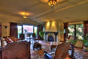 Mediterranean Living Room with slate floors, flush light, High ceiling