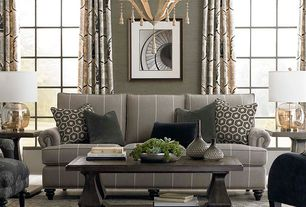 Traditional Living Room with interior wallpaper, Chandelier, Custom upholstery medium sofa, 17th c. monastery coffee table