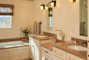 Craftsman Master Bathroom with White Privacy Liner, Master bathroom, Wall sconce, Flat panel cabinets, Double sink, Flush