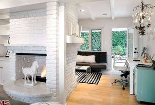 Contemporary Living Room with Office star products mid back white eco leather chair, White brick fireplace