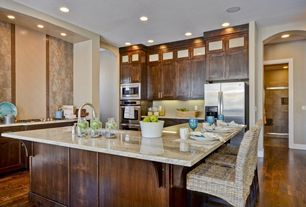 Contemporary Kitchen with Complex granite counters, Stone Tile, Hardwood floors, electric cooktop, Breakfast bar, Flush