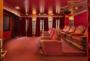 Traditional Home Theater with Wall sconce, interior wallpaper, Carpet, Crown molding