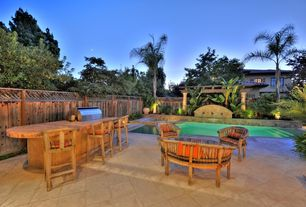 Tropical Patio with Trellis, Fence, Pool with hot tub, exterior tile floors, Raised beds, Outdoor kitchen