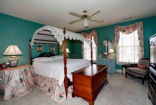 Traditional Guest Bedroom with Classic wooden cedar chest, Ceiling fan, Carpet