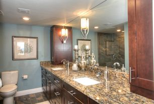 Traditional Full Bathroom with Shower, Full Bath, full backsplash, Marble.com Baltic Brown Granite, can lights, Double sink