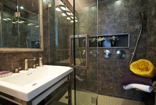 Contemporary 3/4 Bathroom with frameless showerdoor, Wall Tiles, specialty tile floors, Console sink, three quarter bath