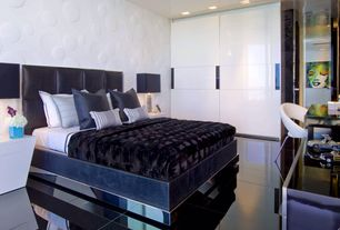 Contemporary Master Bedroom with Pop art, interior wallpaper, complex marble tile floors, Lacquered white finish, can lights