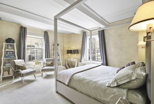 Contemporary Master Bedroom with interior wallpaper, Carpet, Box ceiling, Standard height, double-hung window