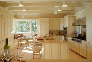 Cottage Kitchen with Flat panel cabinets, Amisco Industries Grace Metal Swivel Stool with Backless Design, Pendant light