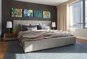 Contemporary Master Bedroom with Laminate floors, interior wallpaper, Textured wallpaper