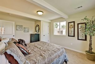 Traditional Master Bedroom with specialty door, Exposed beam, Casement, Standard height, flush light, Paint, Carpet