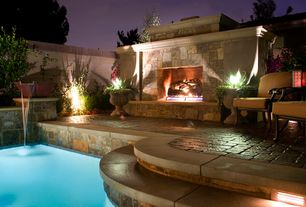 Traditional Patio with Pathway, Fence, Fountain, exterior stone floors