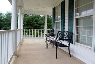 Traditional Porch with Fence, exterior tile floors, Wrap around porch