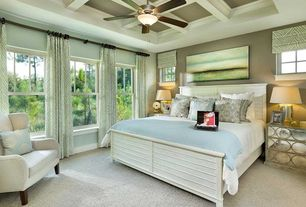 Traditional Master Bedroom with Carpet, Box ceiling, picture window, Standard height, double-hung window, Ceiling fan