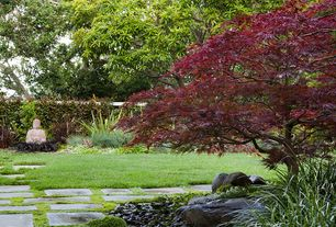 Asian Landscape/Yard with exterior stone floors, Flagstone, Pathway, Fence
