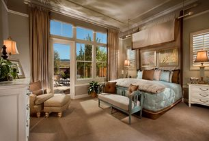 Traditional Master Bedroom with High ceiling, French doors, Shabby chic painted bench with cushion, Carpet, Transom window
