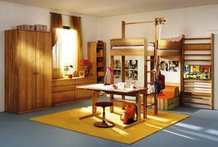 Contemporary Kids Bedroom with Art desk, Built-in bookshelf, Concrete floors