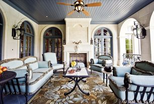 Eclectic Porch with Screened porch, Arched window, French doors, exterior tile floors