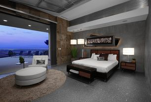 Contemporary Master Bedroom with specialty door, High ceiling, Exposed beam, Balcony, can lights, quartz floors