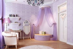 Traditional Kids Bedroom with flat door, no bedroom feature, Built-in bookshelf, Laminate floors, Transom window, Chandelier