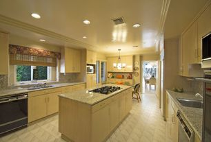 Craftsman Kitchen with Pendant light, Casement, Multiple Sinks, stone tile floors, U-shaped, full backsplash, Flush