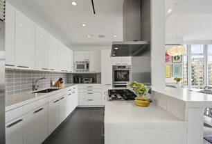 Modern Kitchen with flush light, Wall Hood, full backsplash, European Cabinets, Hardwood floors, Stone Tile, Limestone Tile