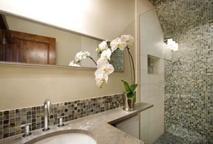 Contemporary 3/4 Bathroom with Ceramic Tile, specialty door, Sandstone counters, Undermount sink, frameless showerdoor