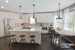 Country Kitchen with Pendant light, Kitchen island, Simple granite counters, Hillsdale cyprus adjustable backless bar stool