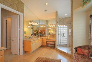 Mediterranean Full Bathroom with Raised panel, Concrete floors, Built-in bookshelf, Complex Granite, Simple granite counters