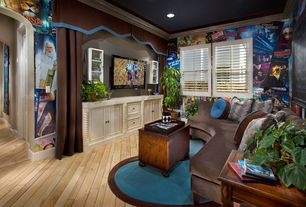 Contemporary Home Theater with Crown molding, Built-in bookshelf, Hardwood floors