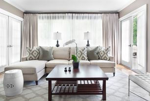 Contemporary Living Room with Sheer curtain panels, Steel Lark White Tufted Leather Three-seater Bench, Hardwood floors