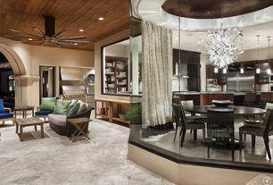 Contemporary Porch with Pendant light, Built-in bookshelf, Crown molding, Sunken living room, Ceiling fan, Chandelier