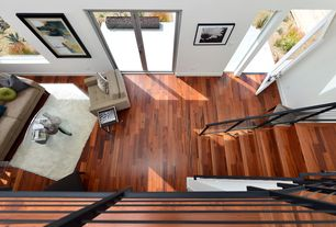 Modern Staircase with Hardwood floors, High ceiling