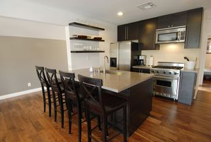 Contemporary Kitchen with One-wall, Breakfast bar, Paint, full backsplash, Hardwood floors, Standard height, can lights