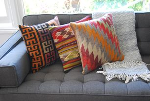 Eclectic Living Room with Upholstery, Throw pillows, Kilim throw pillow, Accent pillows